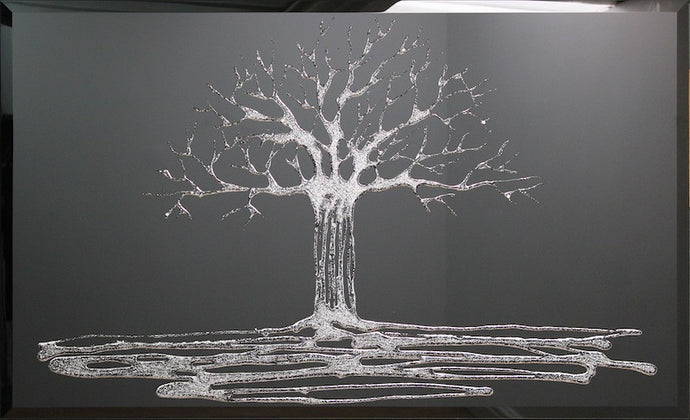 Silver Swarovski Tree On Black Glass Mirror Art