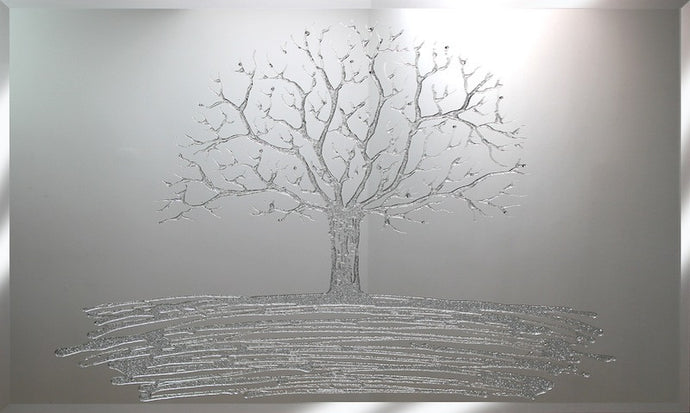 Silver Glitter Swarovski Tree Liquid Glass Picture Art Mirror