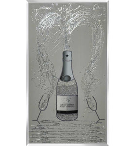Sparkling Champagne Bottle with silver glitter liquid fizz