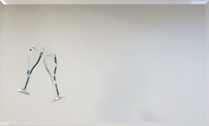 Champagne Flutes Liquid Glass Wall Art On A Mirror