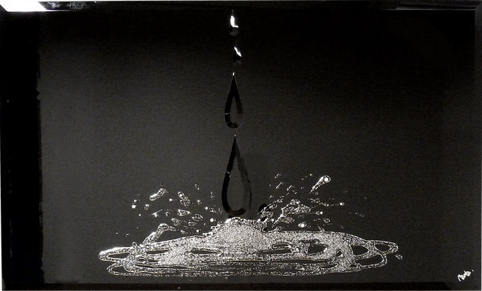 Teardrops and Diamonds on Black Glass Mirror Art