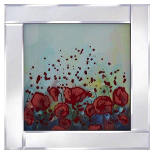 Abstract Flowers Liquid Glass Art Picture with Mirror Frame