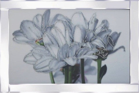Abstract Flowers Mirrored Frame Liquid Glass Wall Art