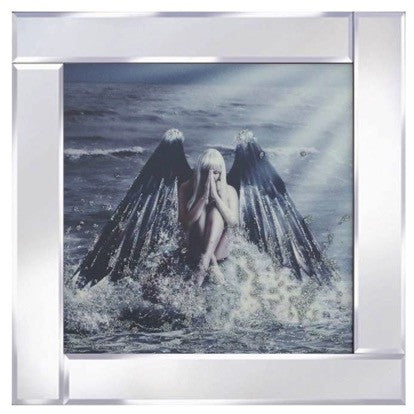 Angel On Water Liquid Glass Wall Art Picture With Mirror Frame