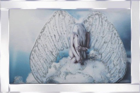 Angel On A Cloud Liquid Glass Wall Art Picture With A Mirrored Frame