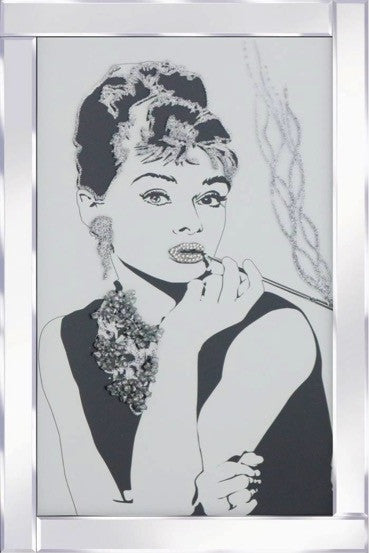 Audrey Hepburn Liquid Glass Wall Art Picture With Mirrored Frame