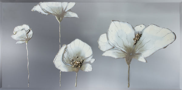 Cream Poppies Liquid Glass Wall Art Unique Arts