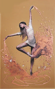 Dancer Liquid Glass Wall Art On a Bronze Glass Panel