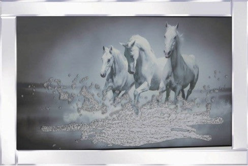 3 Galloping Horses Liquid Glass Wall Art Picture With Mirror Frame