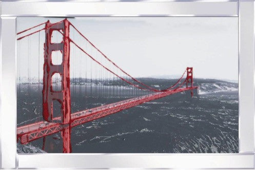 Golden Gate Bridge Liquid Glass Wall Art Picture With Mirrored Frame