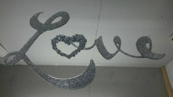 Silver Love Liquid Glass Art Mirror
