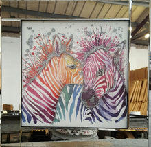 Load image into Gallery viewer, Multi Coloured Zebras Liquid Glass Wall Art With a Mirrored Frame