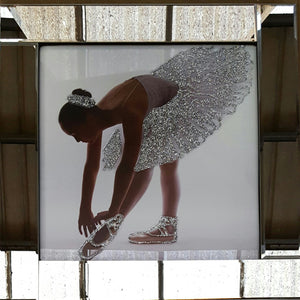 Ballerina Liquid Glass Wall Art Picture With Mirror Frame