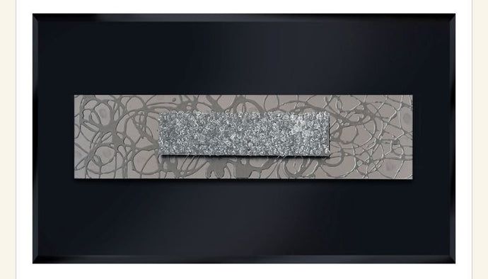 Dual Abstract Silver Panel Liquid Glass Wall Art On Black Glass