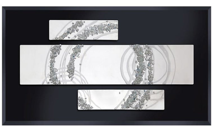 Abstract Swirl Liquid Glass Wall Art On Black Glass