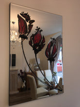 Load image into Gallery viewer, Three Stem Red Tulip Liquid Glass Wall Art On A Mirror