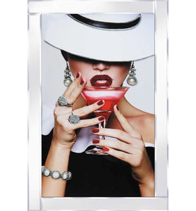 Lady in White Hat with Red Cocktail with Mirrored Frame