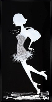 Silver and White Lady Black Glass Mirror Art
