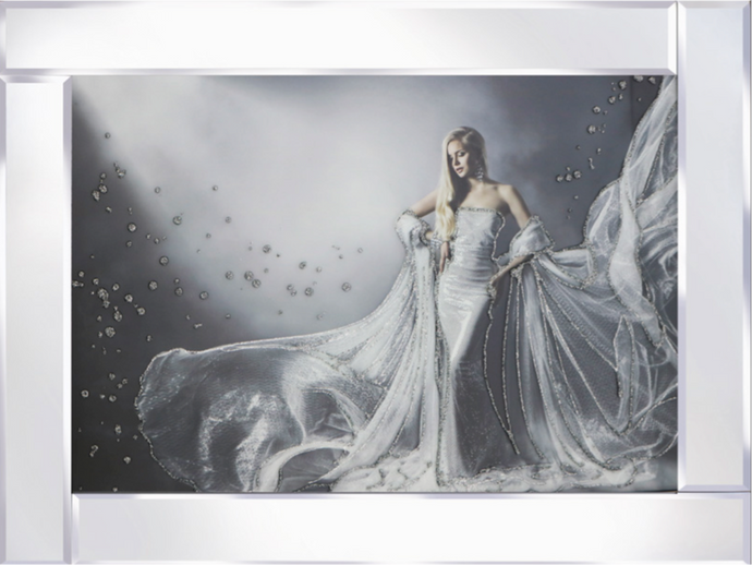 Lady in Ball Gown on Mirrored Frame