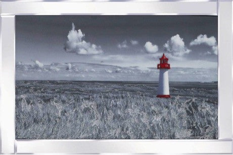 Red and White Lighthouse Liquid Glass Wall Art With a Mirror Frame