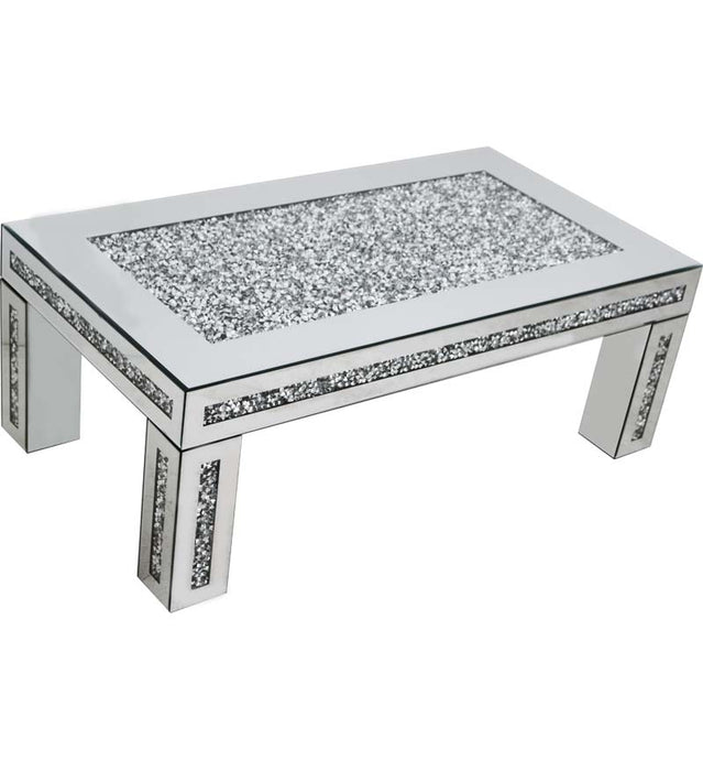 Gatsby Mirrored Glass Crystal Coffee Table