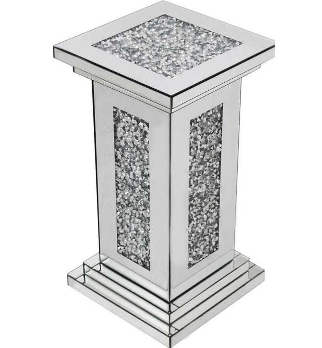 Gatsby Mirrored Glass Crystal Pillar Side Table