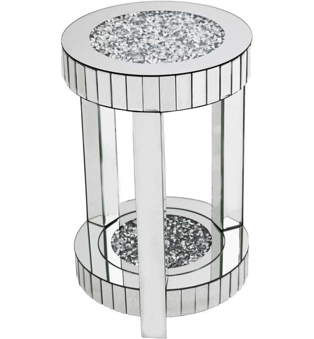 Gatsby Mirrored Glass & Crystal Round Side Table