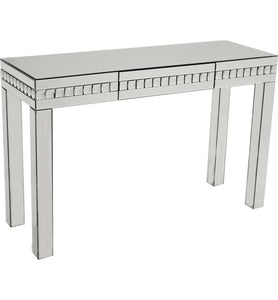 Mirrored Glass And Silver Crystal Console table with Drawer