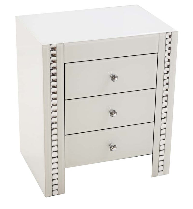 White Glass & Crystal 3 Drawer Bed Side Table