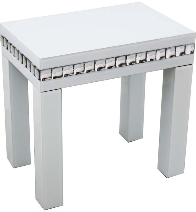 White Glass And Crystal Table