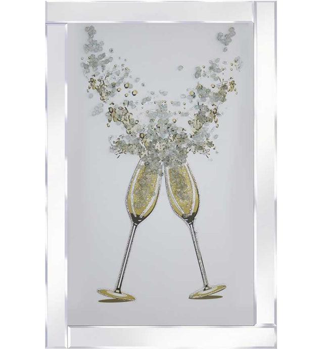 2 Champagne Glasses With Mirrored Frame