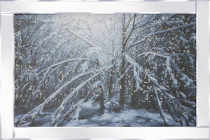Wintery Woods on Mirrored Frame