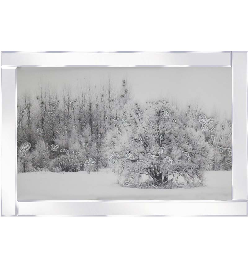 Snowy Tree on Mirrored Frame