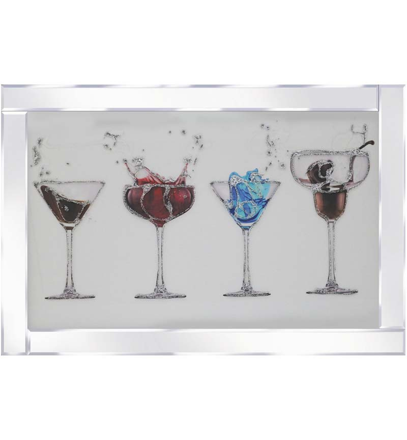 4 Cocktail Glasses on Mirrored Frame