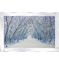 Load image into Gallery viewer, A spectacular design of a Snowy Avenue on Mirrored Frame. The design itself is beautifully rendered with Liquid Glitter. The modest proportion of the mirrored frame is suitable for most room sizes.