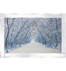 A spectacular design of a Snowy Avenue on Mirrored Frame. The design itself is beautifully rendered with Liquid Glitter. The modest proportion of the mirrored frame is suitable for most room sizes.