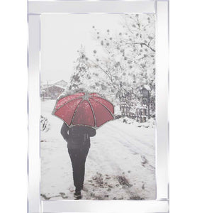 A spectacular design of a Snowy Red Umbrella On Mirrored Frame. The design itself is beautifully rendered with Liquid Glitter. The modest proportion of the mirrored frame is suitable for most room sizes.