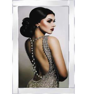Elegant Lady in Backless Sparkling Dress