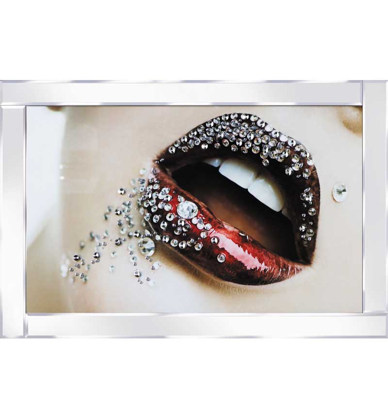 Diamante Lips With Mirrored Frame