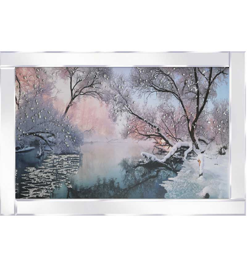 Wintery River View With Mirrored Frame