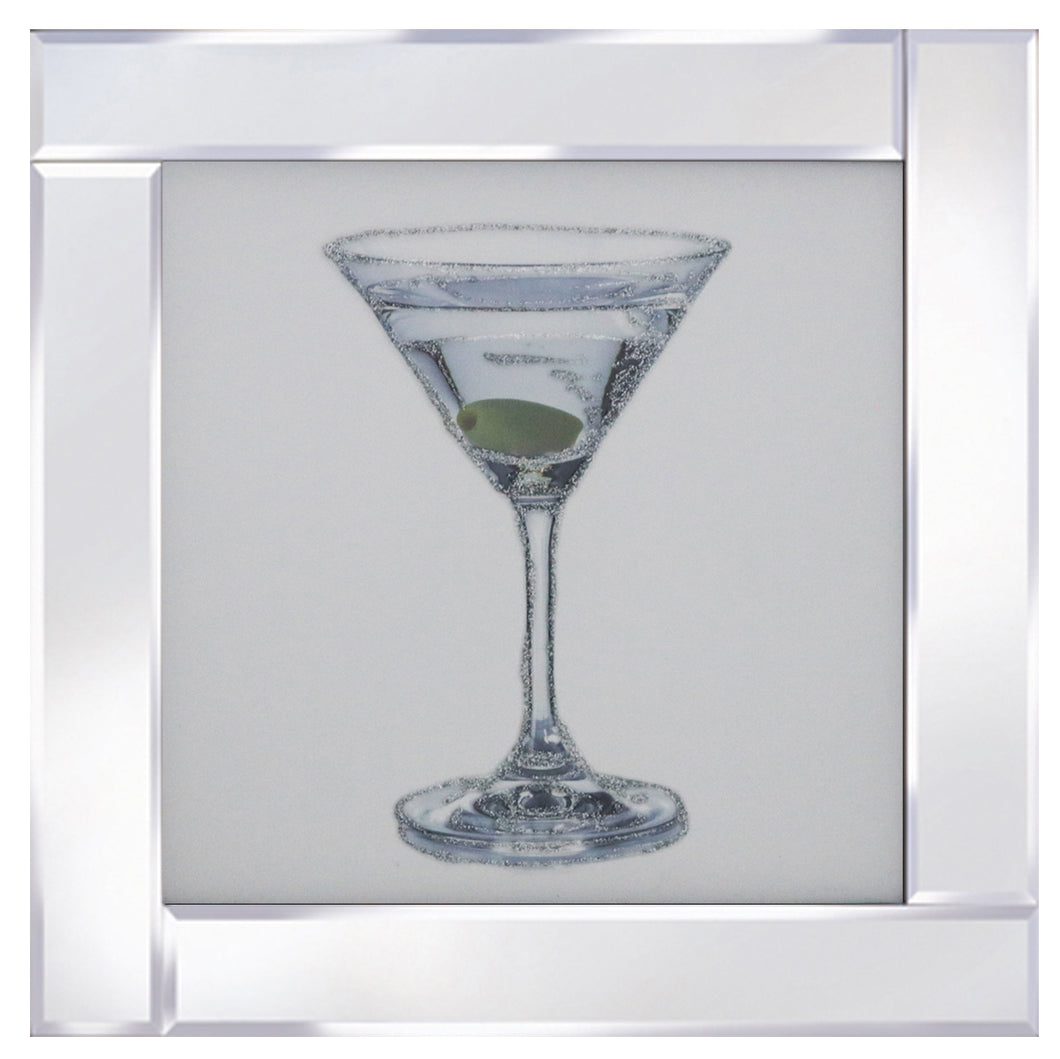 Cocktail Dry Martini on Mirrored Frame
