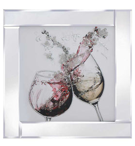 A spectacular design of 2 Wine Glasses rendered with Liquid Glitter and finished with a sleek mirrored frame.