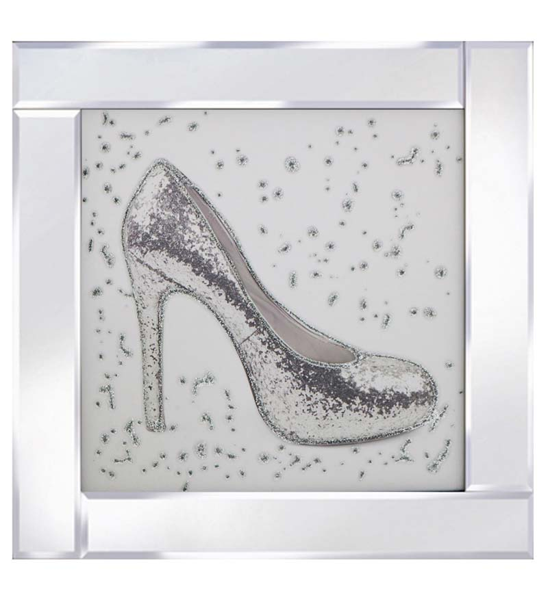 Glitter shoe on Mirrored Frame