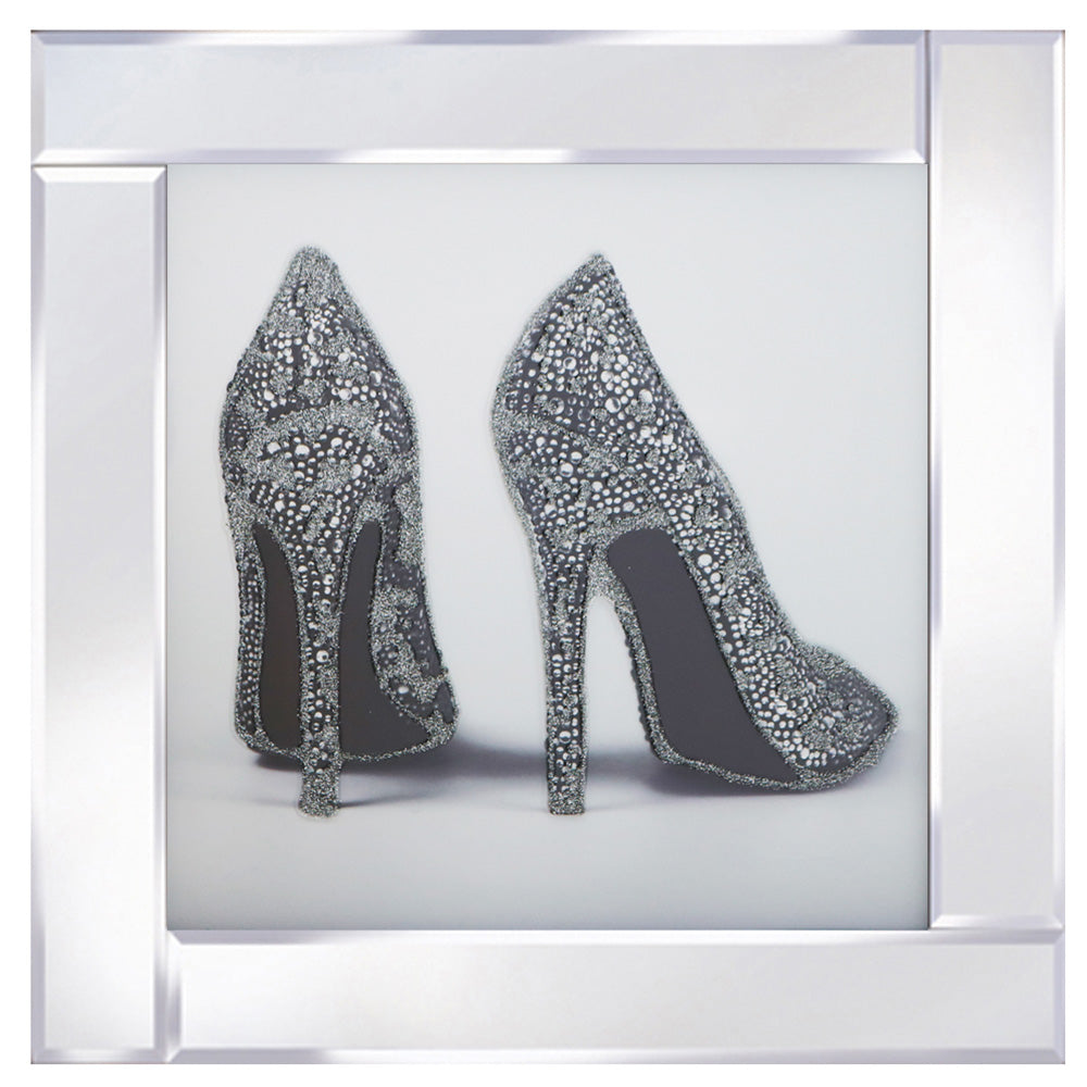 Silver Glitter Shoes on Mirrored Frame