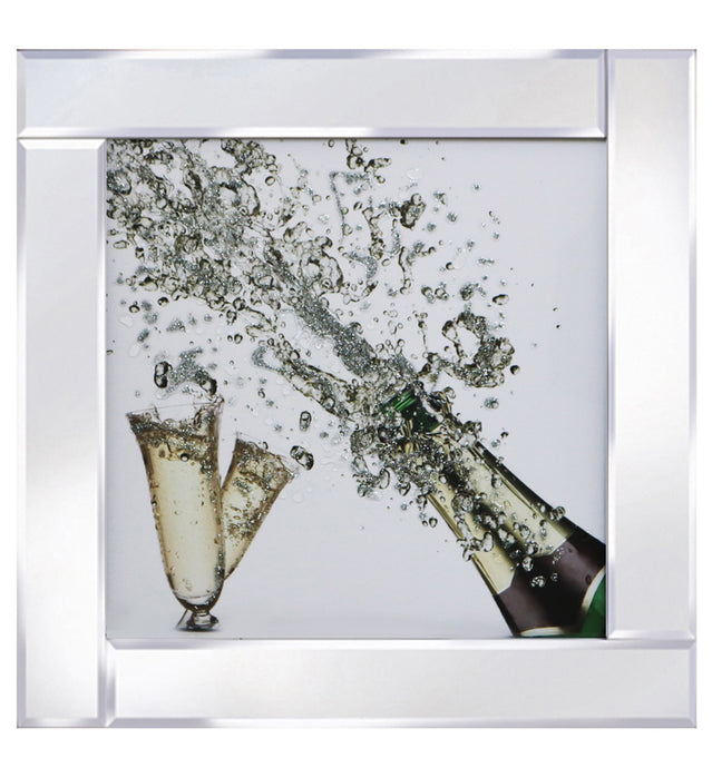 Cheers to Champagne On a Mirrored Frame