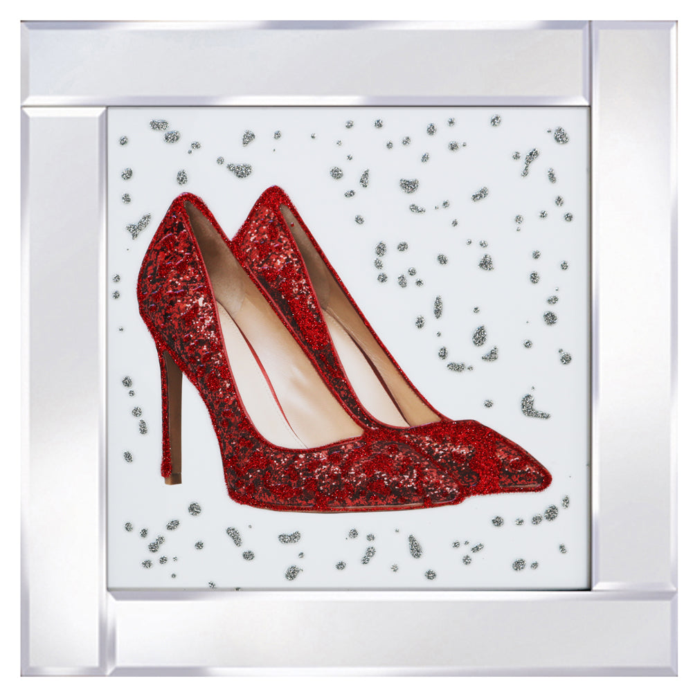 Red Shoes Mirrored Frame