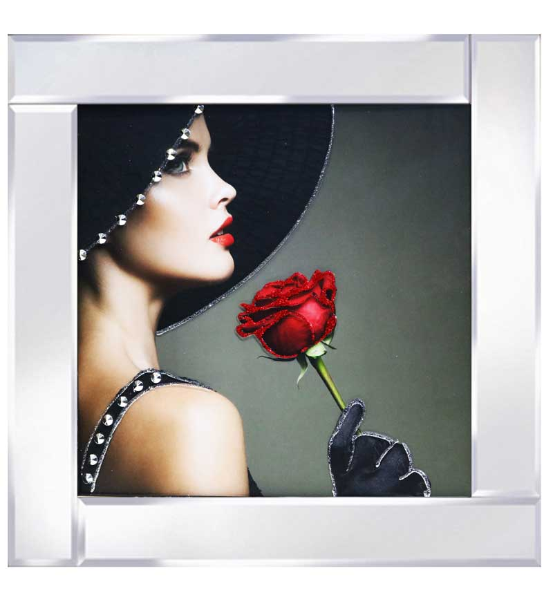 Lady with Red Rose Mirrored Frame