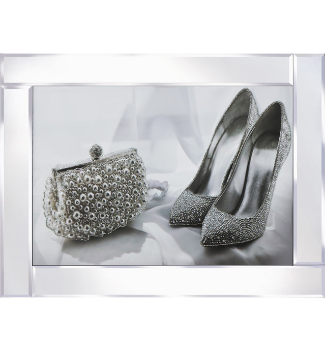 Glitter Shoes and Bag on Mirrored Frame