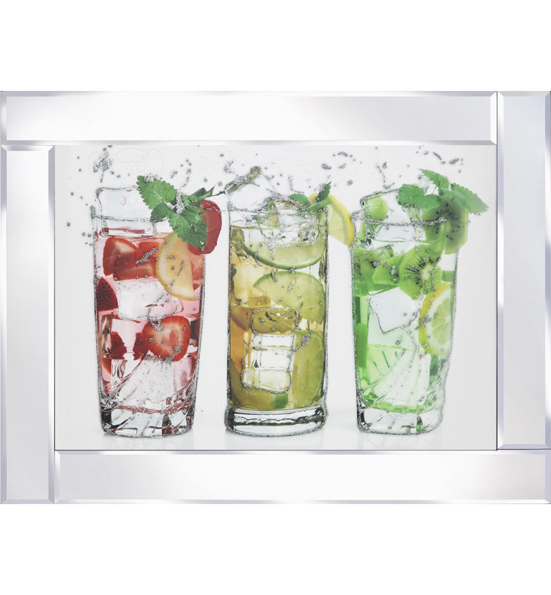 3 Tumbler Cocktails on Mirrored Frame