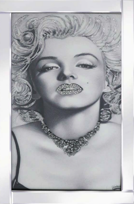 Marilyn Monroe Liquid Glass Wall Art with Mirror Frame